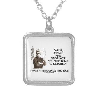 Swami Vivekananda Arise Awake Stop Not 'Til Goal Silver Plated Necklace