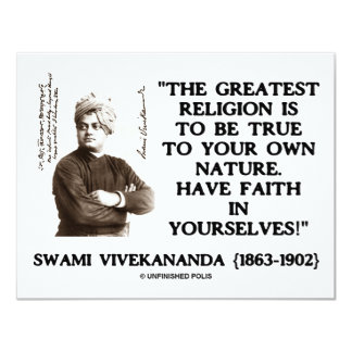 Swami Vivekananda Greatest Religion Be True Faith 4.25x5.5 Paper Invitation Card