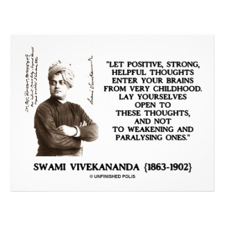 """Swami Vivekananda Positive Strong Helpful Thoughts 8.5"""" X 11"""" Flyer"""