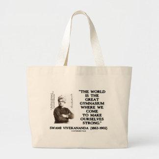 Swami Vivekananda World Great Gymnasium Strong Large Tote Bag