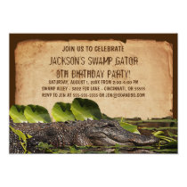 Swamp Alligator Custom Birthday Party Invitation