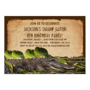 Alligator invitations zazzle swamp alligator custom birthday party invitation filmwisefo