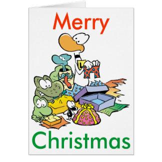 Swamp Animals Cartoon Christmas Card
