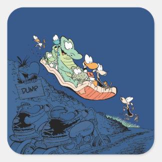 Swamp Cartoon Character Mattress Surfing Sticker