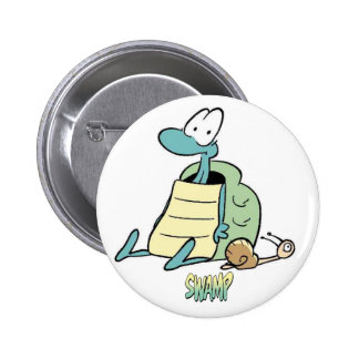 Swamp Cartoons Turtle and Snail 2 Inch Round Button