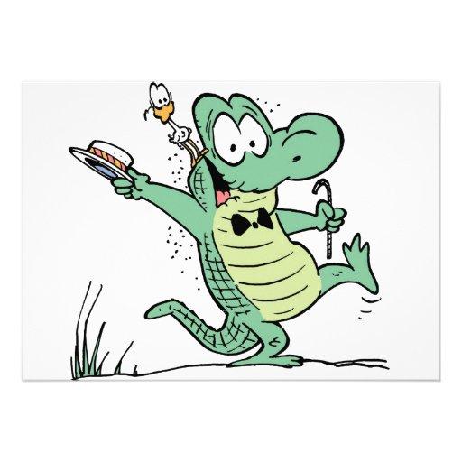 Swamp Crocodile Birthday Invitation