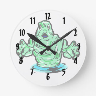 swamp green monster design round clocks
