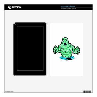 swamp green monster design skins for kindle fire