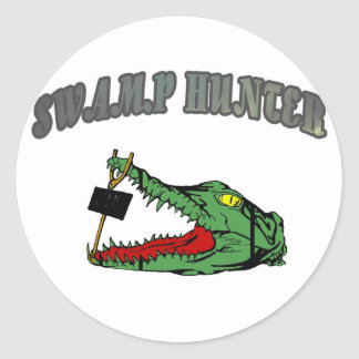 Swamp Hunter Gator Head Classic Round Sticker