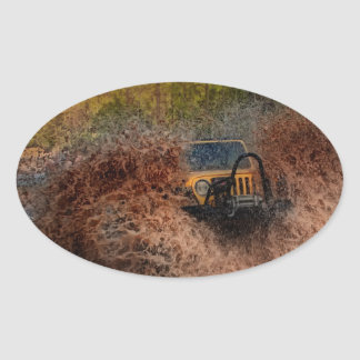Swamp Jeeping Oval Sticker