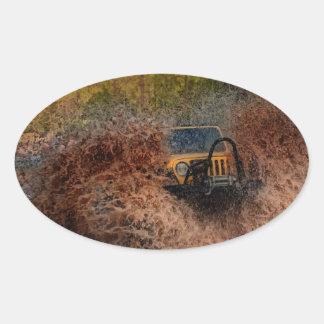 Swamp Jeeping Oval Sticker