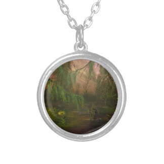 Swamp La Vie: Scouting in Twilight Round Pendant Necklace