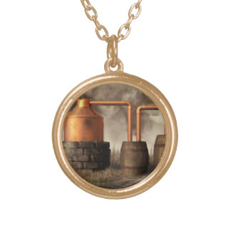 Swamp Moonshine Still Gold Plated Necklace