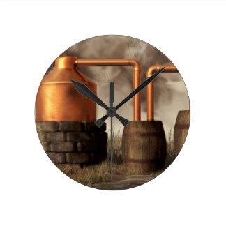Swamp Moonshine Still Round Clock