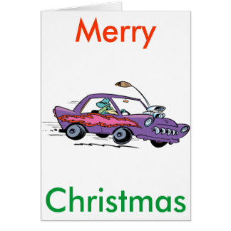 Swamp Turtle Muscle Car Christmas Card