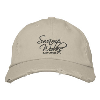 Swamp Works Distressed Logo Hat Embroidered Baseball Caps