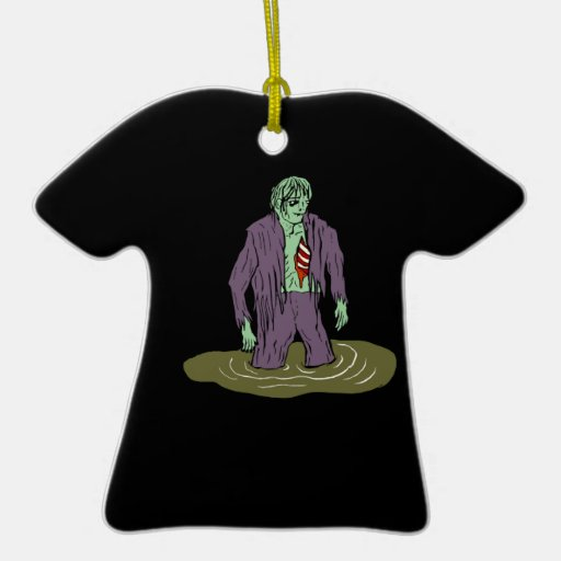 Swamp Zombie Double-Sided T-Shirt Ceramic Christmas Ornament