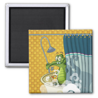Swampy in the Shower 2 Inch Square Magnet