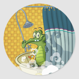 Swampy in the Shower Classic Round Sticker
