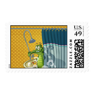 Swampy in the Shower Postage Stamp