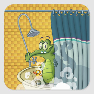 Swampy in the Shower Square Sticker