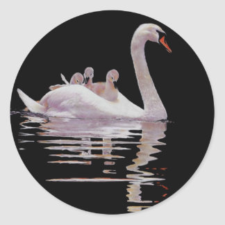 SWAN AND BROOD CLASSIC ROUND STICKER