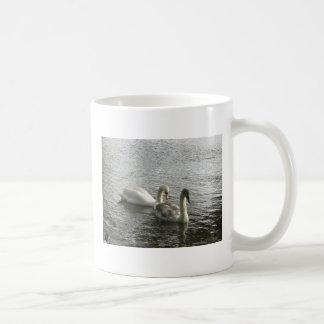 Swan and cygnet classic white coffee mug
