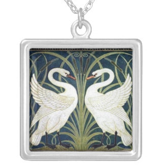 Swan and Rush and Iris wallpaper  TBA Awarded Silver Plated Necklace