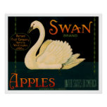 Swan Apples Produce Crate Label - Poster