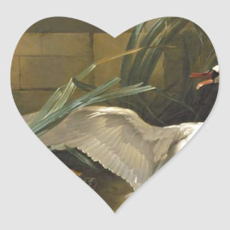 Swan Attacked by a Dog by Jean-Baptiste Oudry Heart Sticker
