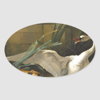 Swan Attacked by a Dog by Jean-Baptiste Oudry Oval Sticker