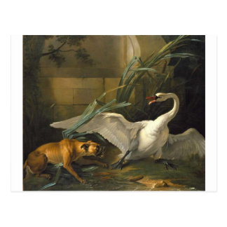 Swan Attacked by a Dog by Jean-Baptiste Oudry Postcard
