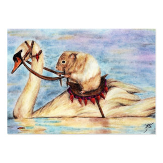 Swan Back Riding (Hamster) ACEO Art Trading Cards Large Business Card