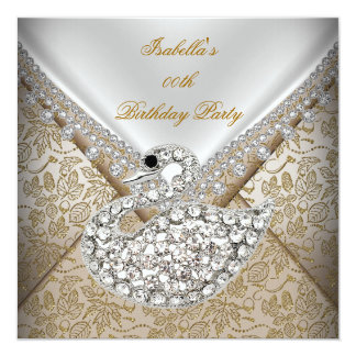 Swan Beige Gold Damask White Elegant Birthday Card