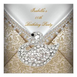 Swan Beige Gold Damask White Elegant Birthday Card