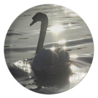 Swan Birds Wildlife Animals Dinner Plate