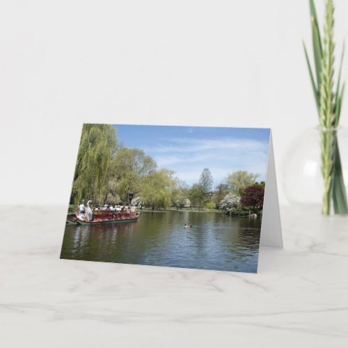 Swan Boat on Water, Boston MA Card