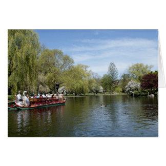 Swan Boat on Water, Boston MA Card