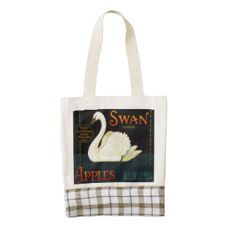 Swan Brand Apples Washington State Crate Label Zazzle HEART Tote Bag