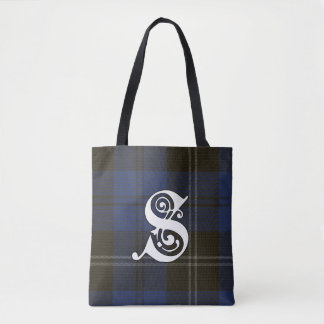 Swan Clan Tartan Monogram Tote Bag