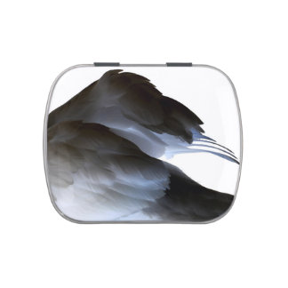 swan clipped wings invert abstract bird jelly belly candy tins