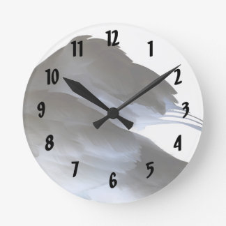 swan clipped wings invert abstract bird round clock