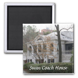 Swan Coach House 2 Inch Square Magnet