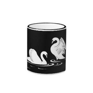 Swan Couple Black Mug