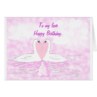 Swan couple love heart birthday card