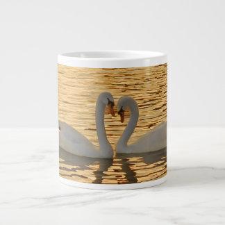 Swan Couple Meeting at Sunset Photograph Giant Coffee Mug