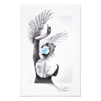Swan dancing woman surreal pencil art Photo print