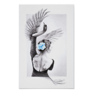 Swan dancing woman surreal pencil art Poster