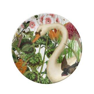 Swan Dessert Porcelain Plate