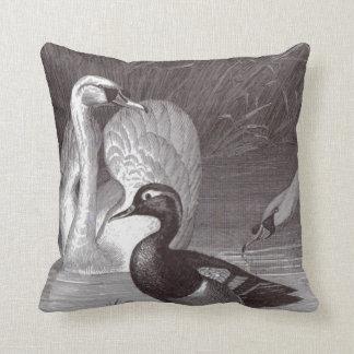 Swan Duck Black and White Bird Toile Throw Pillow